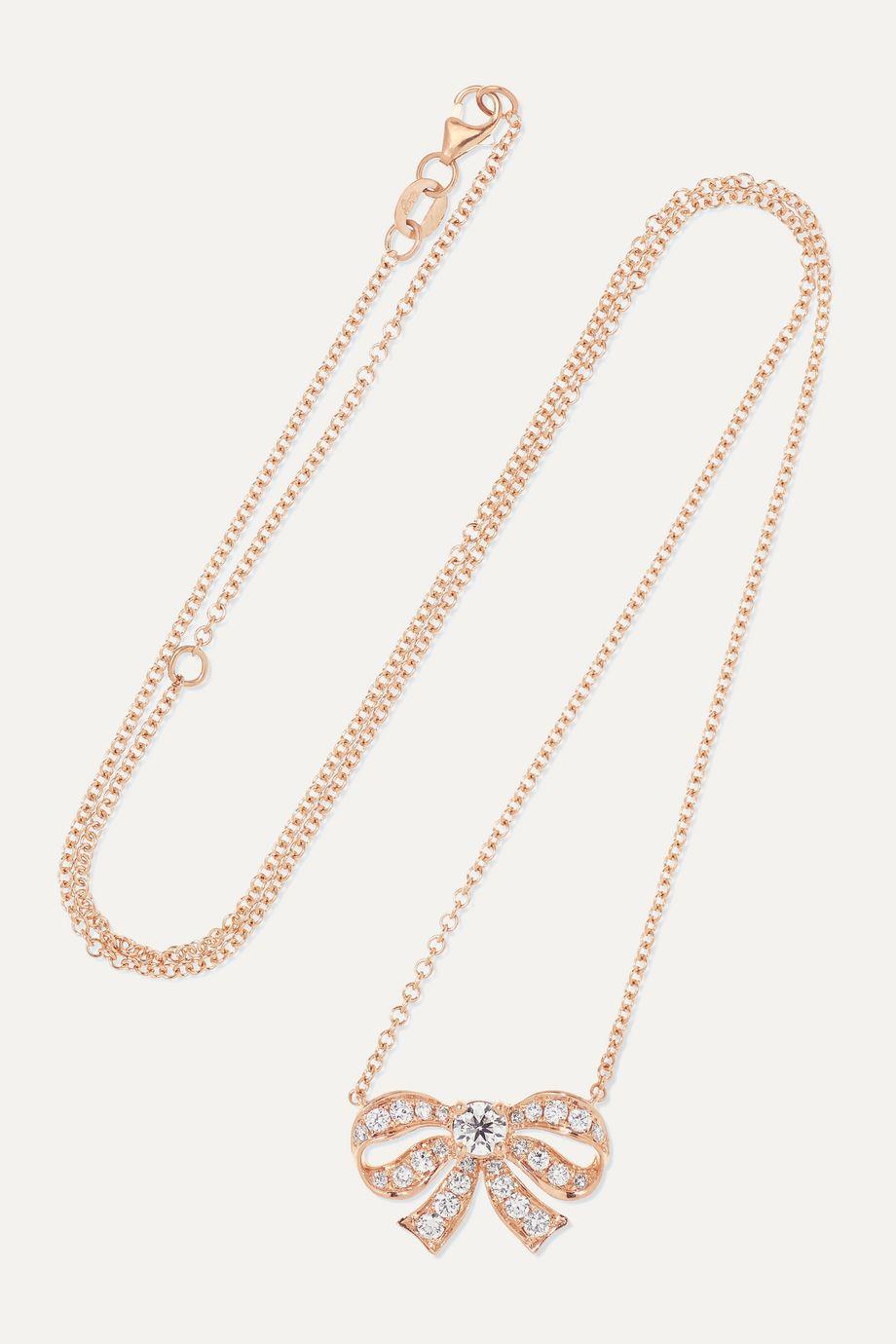Anita Ko Collier en or rose 18 carats et diamants Bow