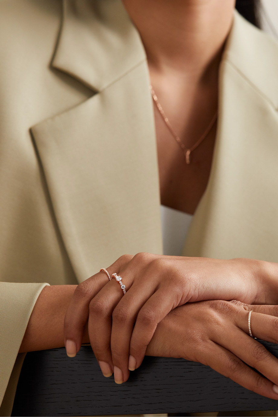 Anita Ko Bague en or rose 18 carats et diamants Collins