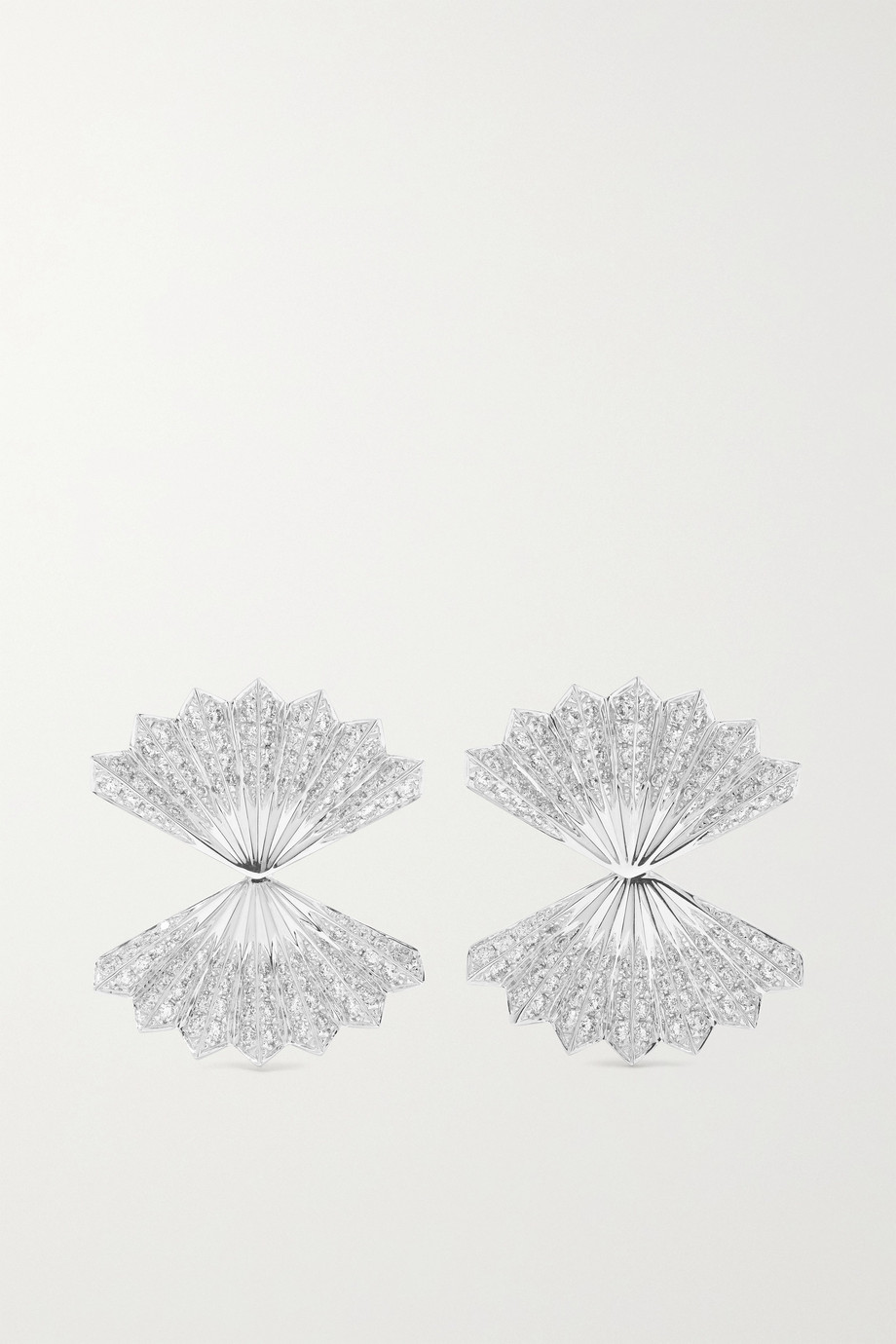 Anita Ko Double Fan 18-karat white gold diamond earrings