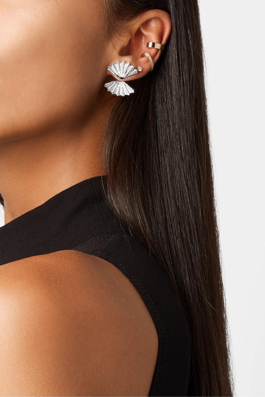 Anita Ko Double Fan 18-karat white gold diamond earrings