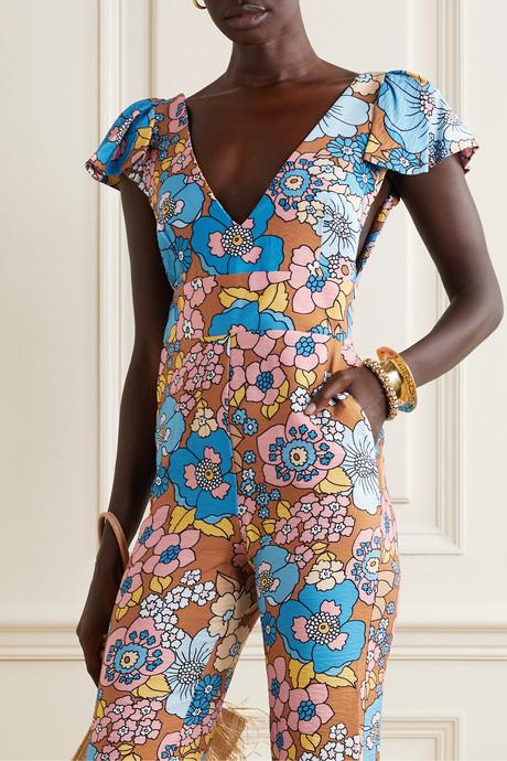 Jenny floral-print crinkled-voile jumpsuit