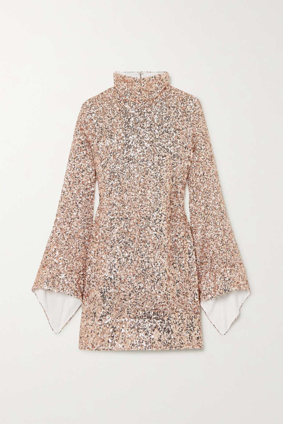 Halpern Draped sequined georgette mini dress