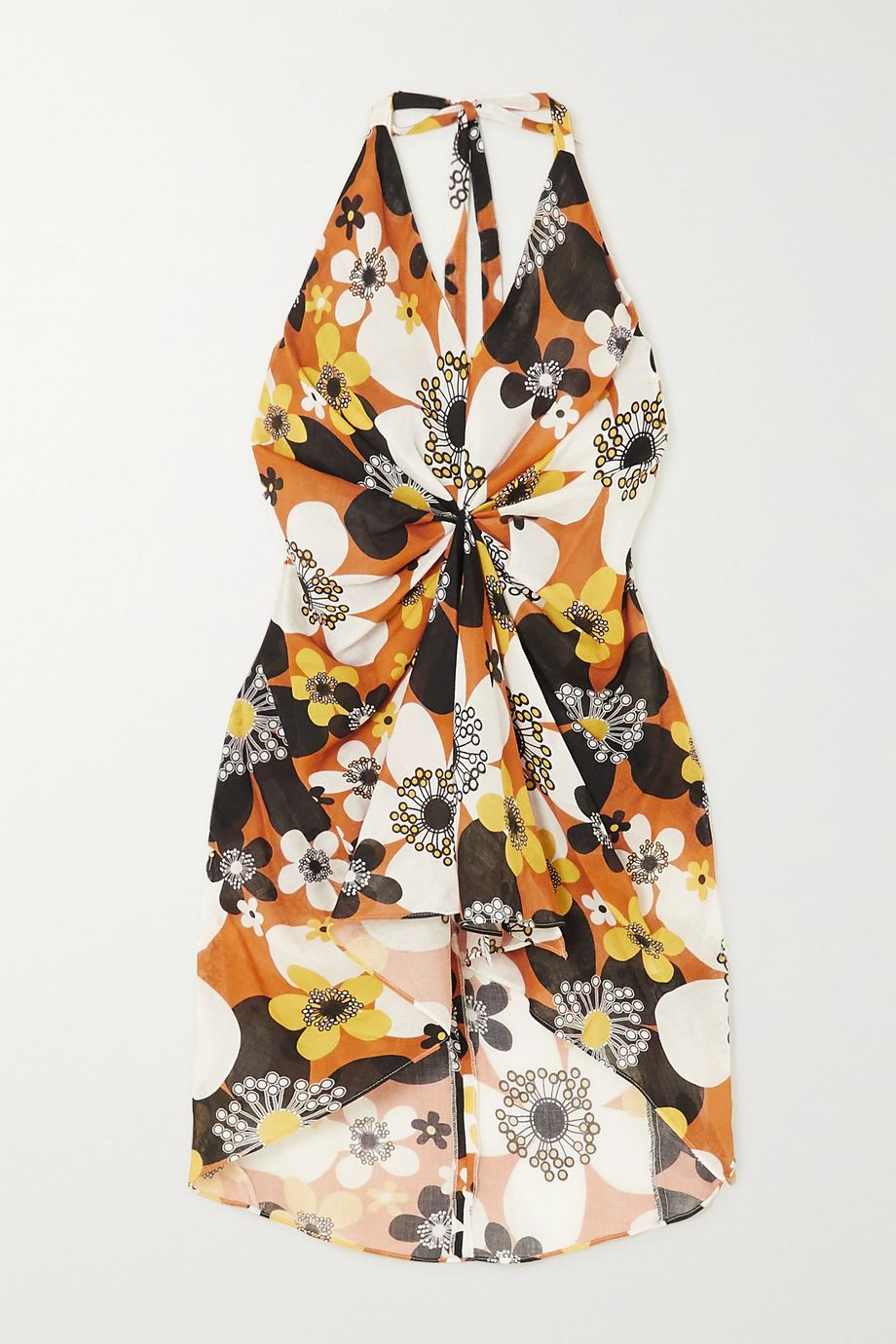 Dodo Bar Or Jeniffer gathered floral-print cotton-voile halterneck mini dress