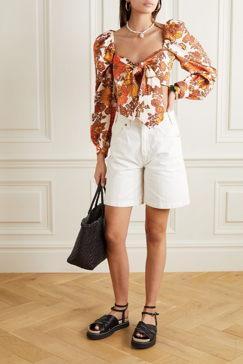 Dodo Bar Or Biby cropped tie-front floral-print cotton top