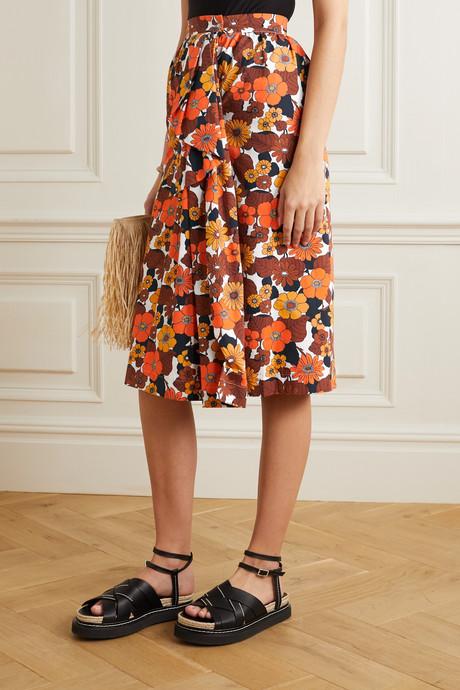 Nora ruffled floral-print cotton midi skirt