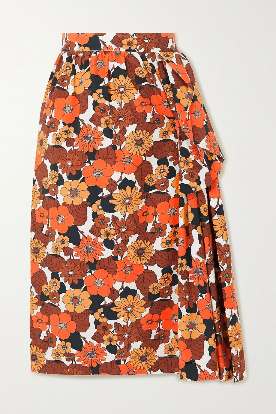 Dodo Bar Or Nora ruffled floral-print cotton midi skirt