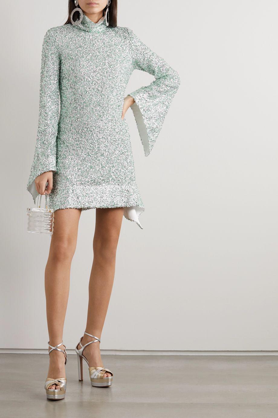 Halpern Sequined lace mini dress
