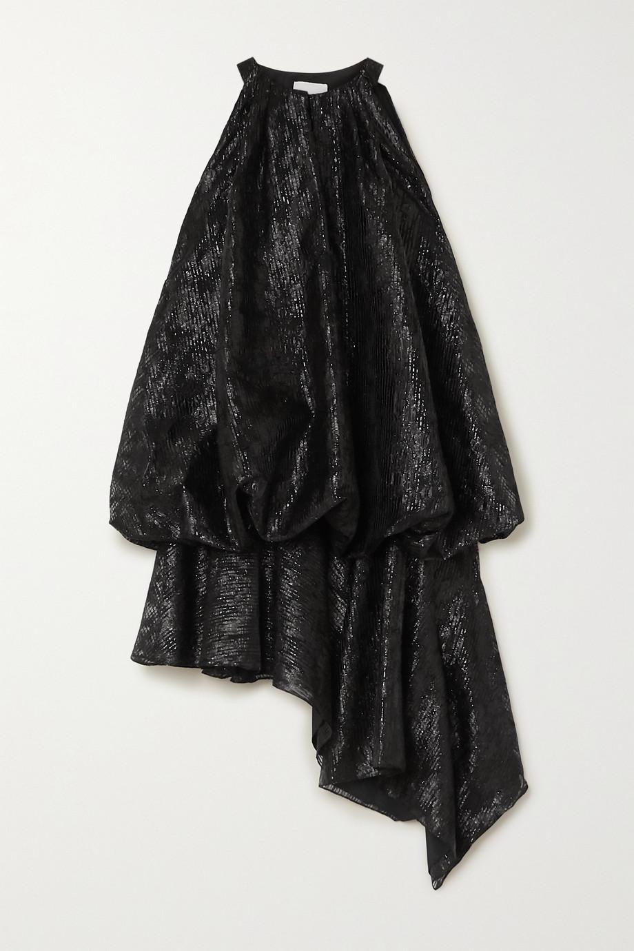 Halpern Asymmetric gathered lamé mini dress