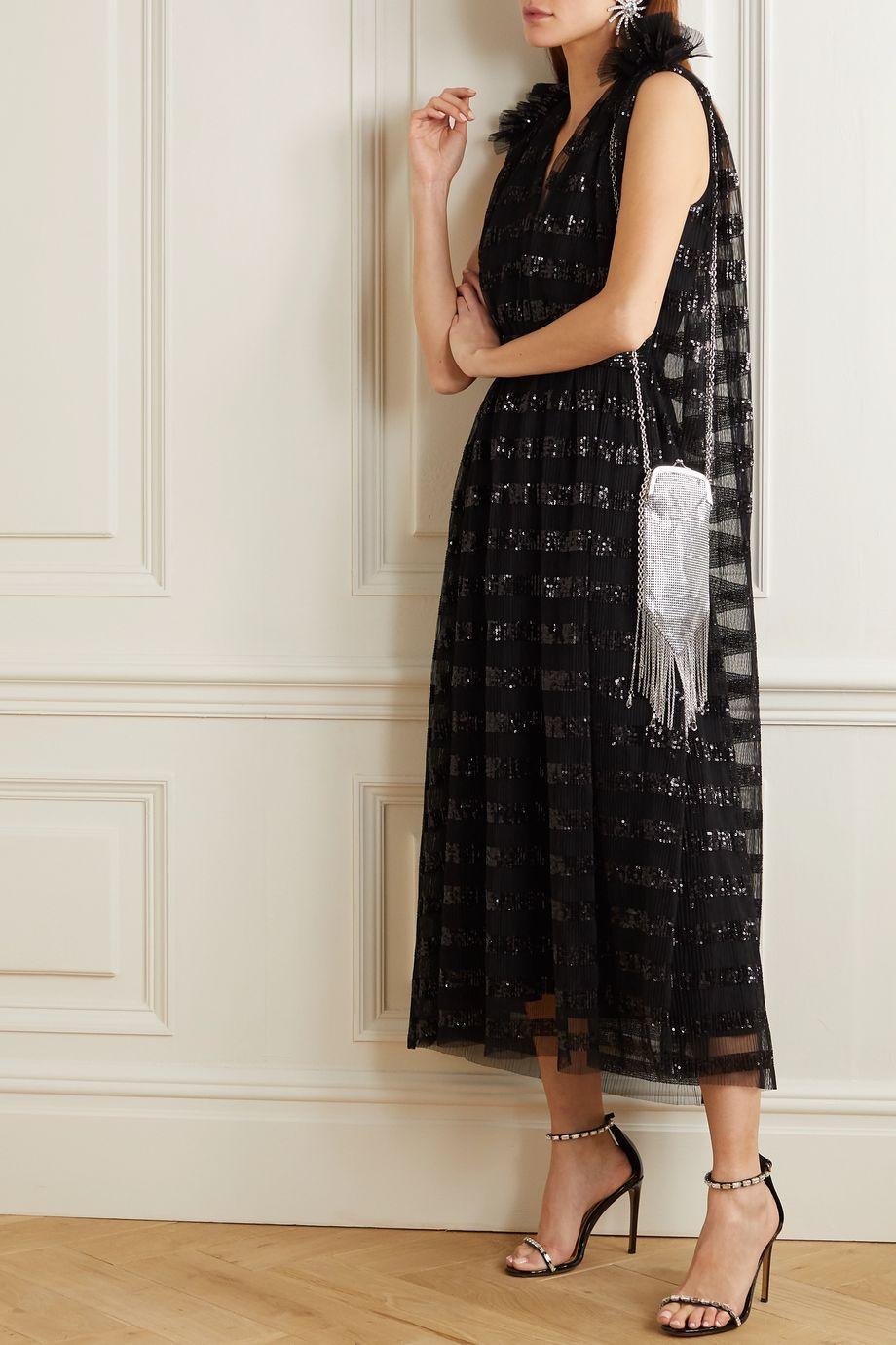 Halpern Ruffled sequin-embellished pleated tulle midi dress