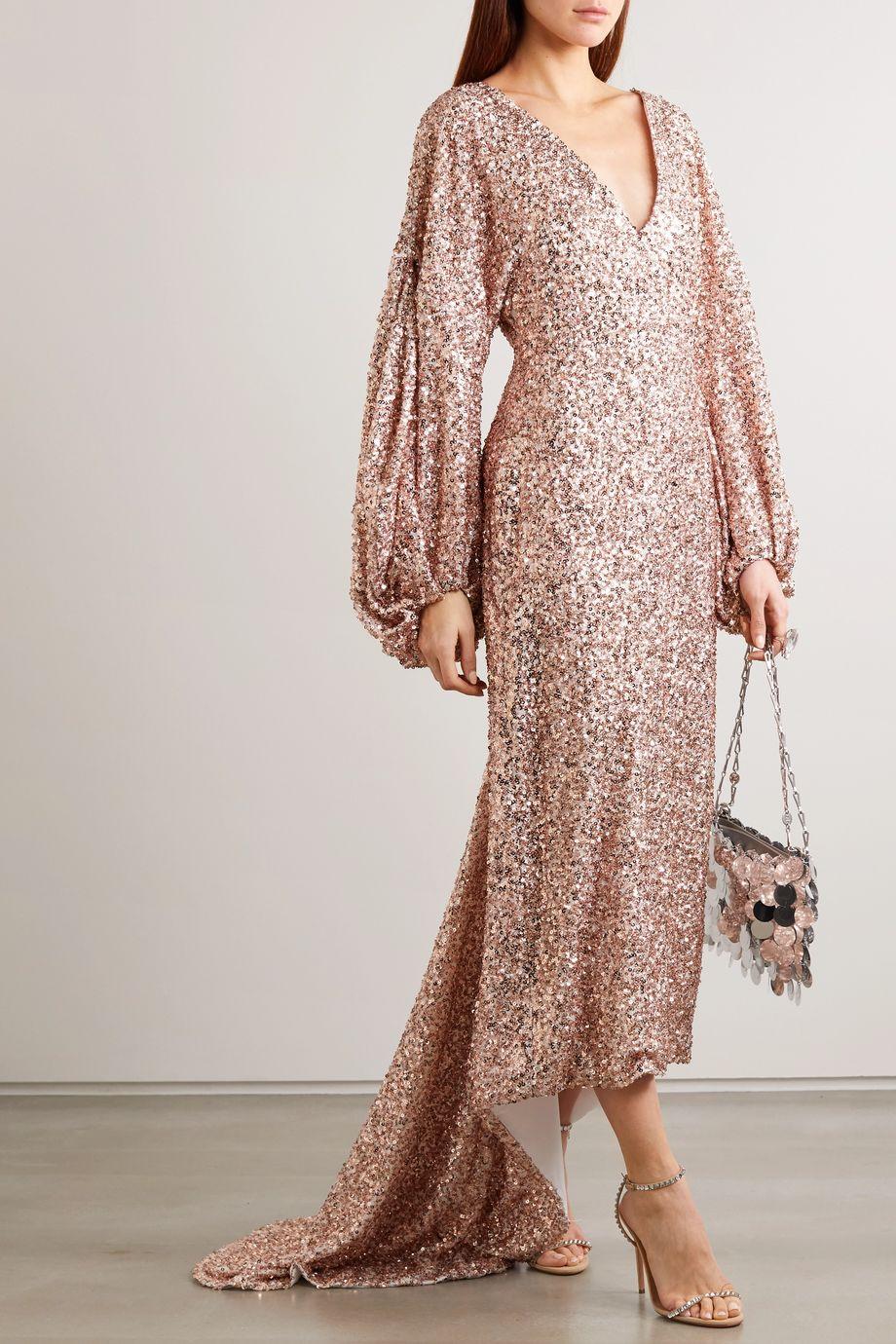 Halpern Sequined georgette gown