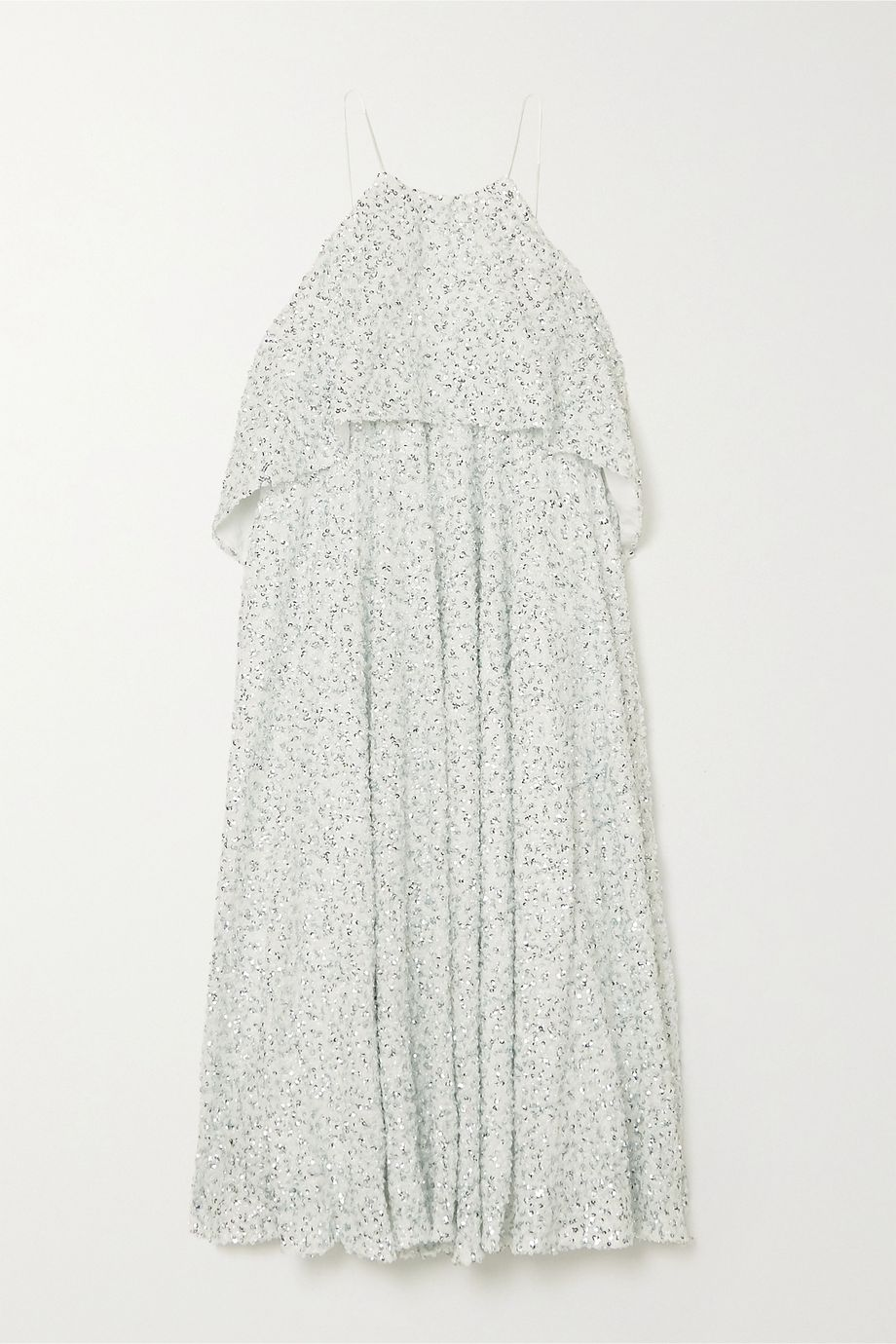 Halpern Tiered sequined georgette midi dress