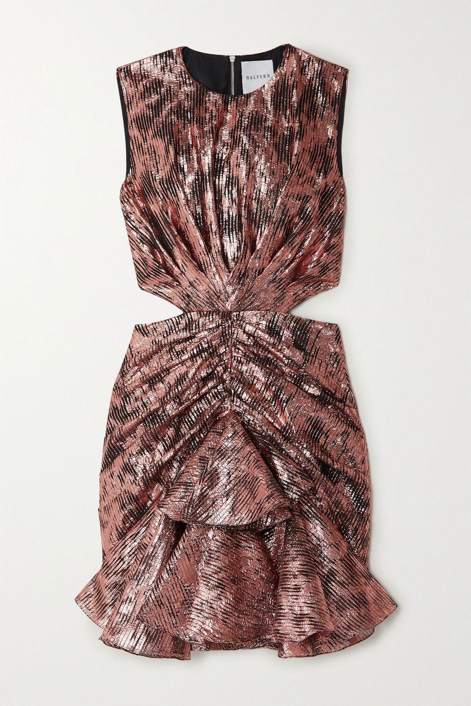 Halpern Cutout ruffled lamé mini dress