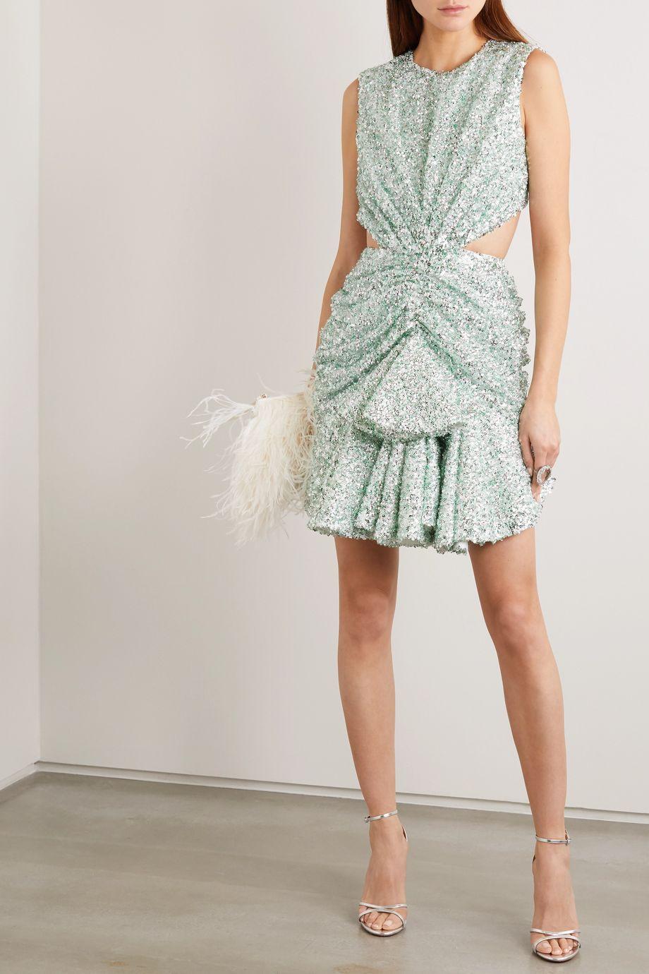 Halpern Cutout sequined lace mini dress