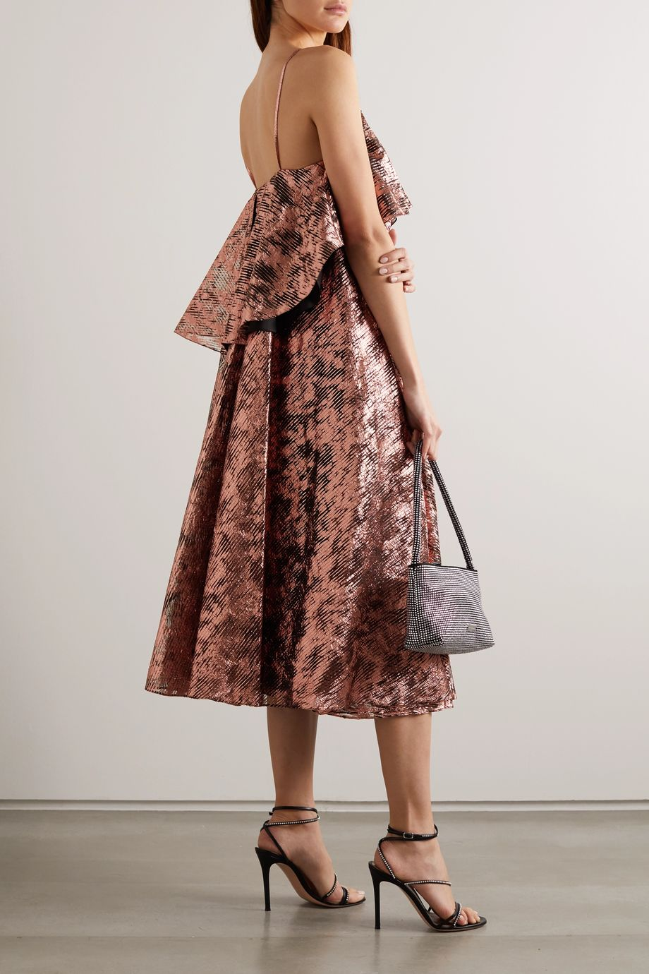 Halpern Open-back ruffled lamé midi dress