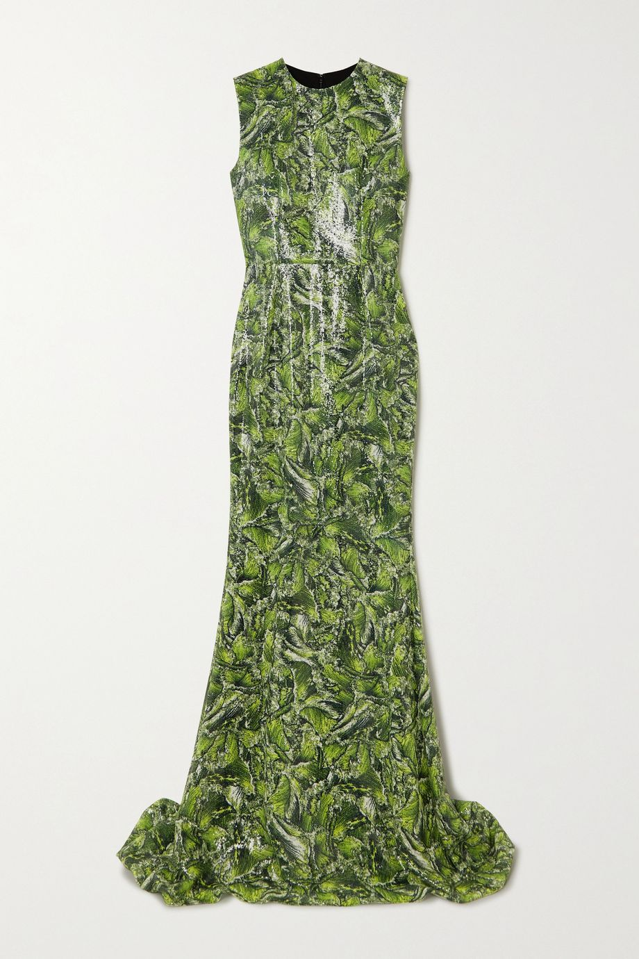 Halpern Printed sequined crepe gown