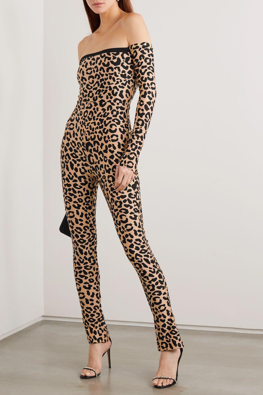 Halpern Off-the-shoulder leopard-print stretch-jersey jumpsuit