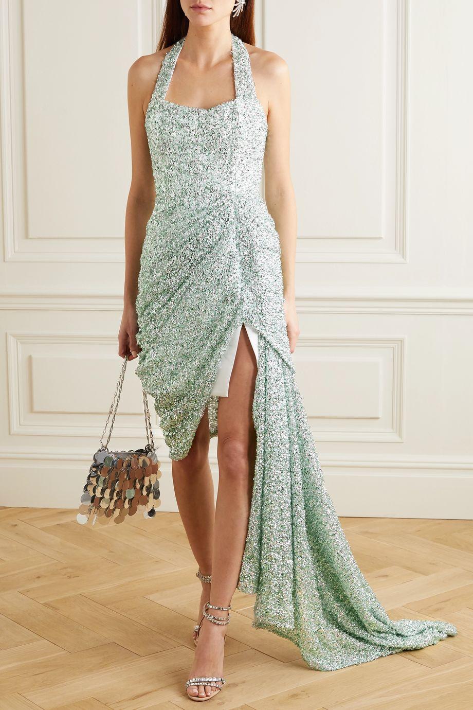 Halpern Asymmetric draped sequined lace dress