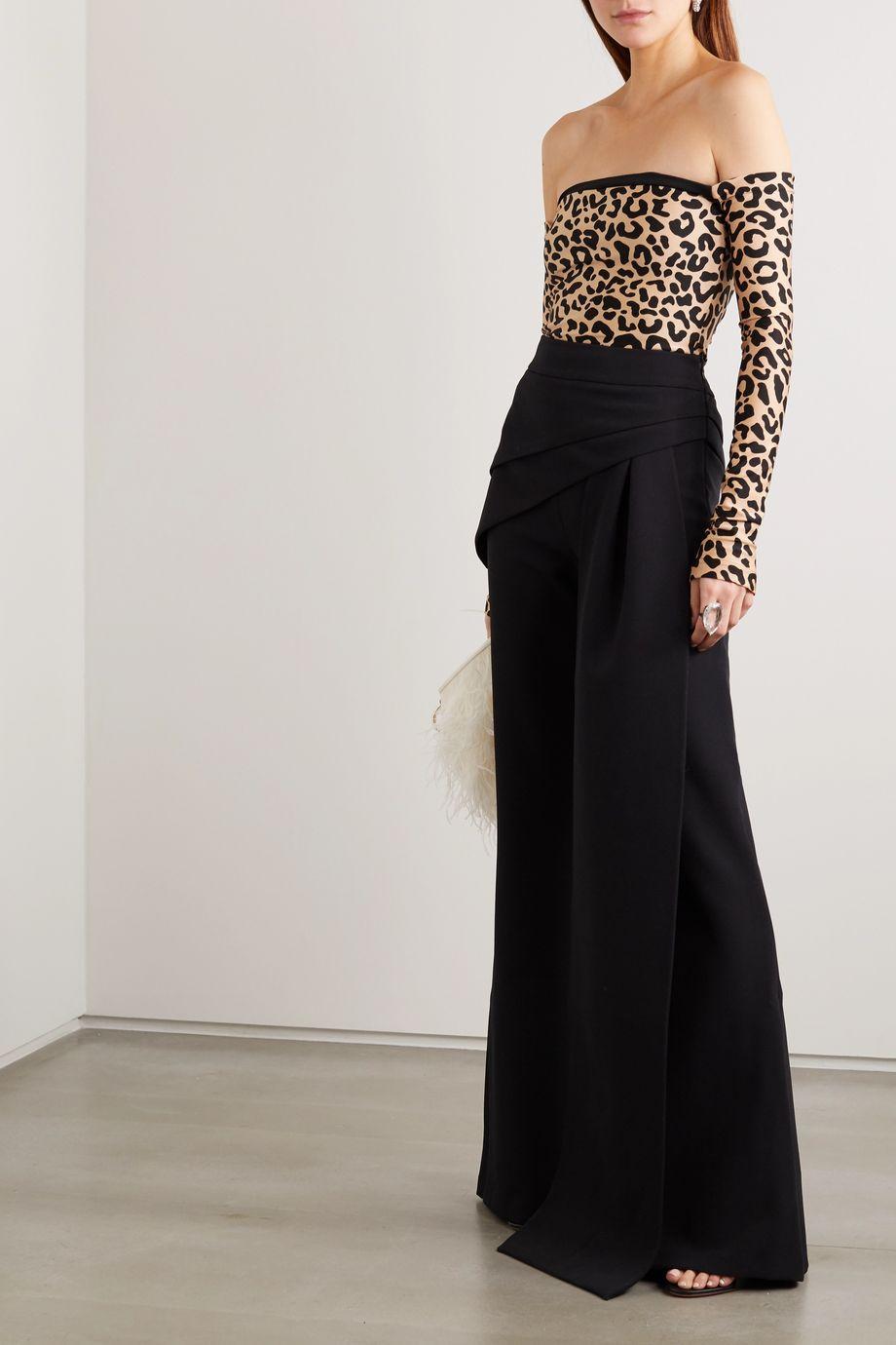 Halpern Off-the-shoulder leopard-print stretch-jersey top