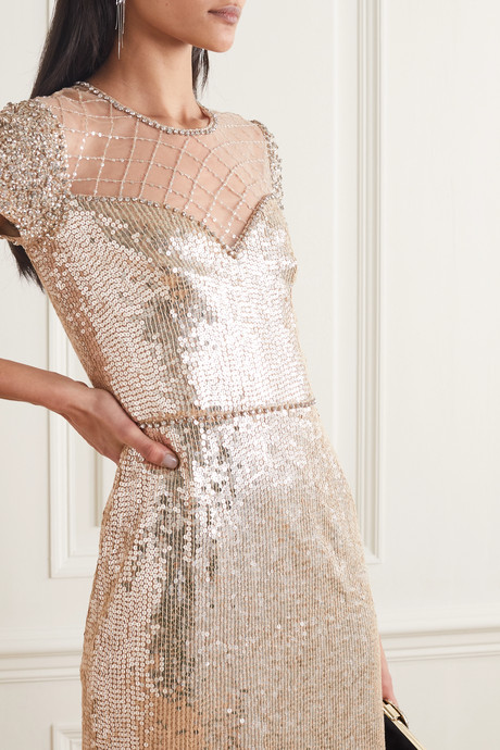 Delphine embellished sequined tulle dress
