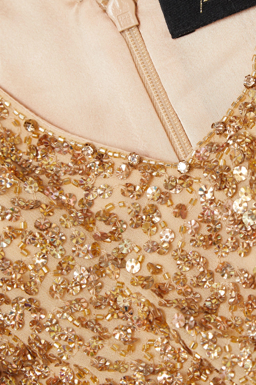 Jenny Packham Teodora cold-shoulder embellished chiffon jumpsuit