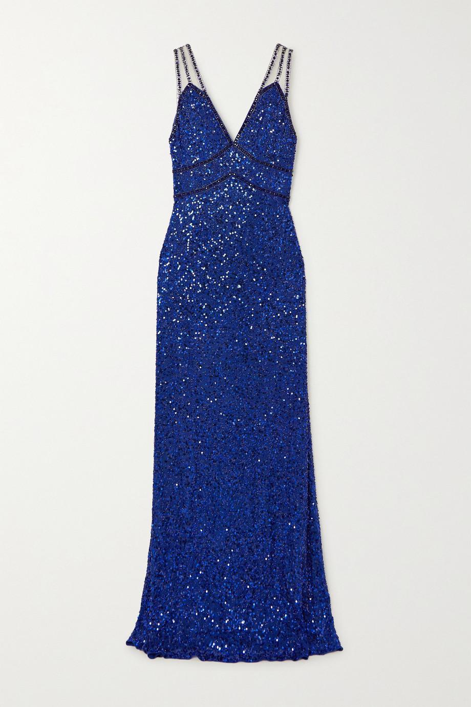 Jenny Packham Leya tulle-trimmed embellished chiffon gown
