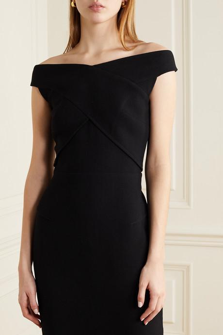 Amarula off-the-shoulder wool-crepe dress