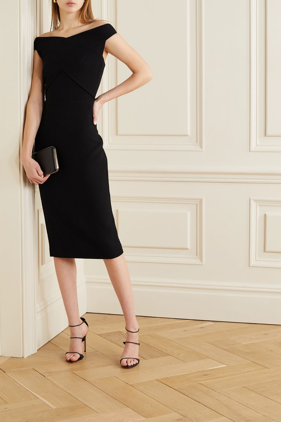 Roland Mouret Amarula off-the-shoulder wool-crepe dress