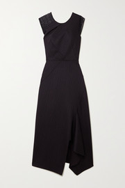 Roland Mouret Asymmetric lace-trimmed pinstriped wool-blend midi dress