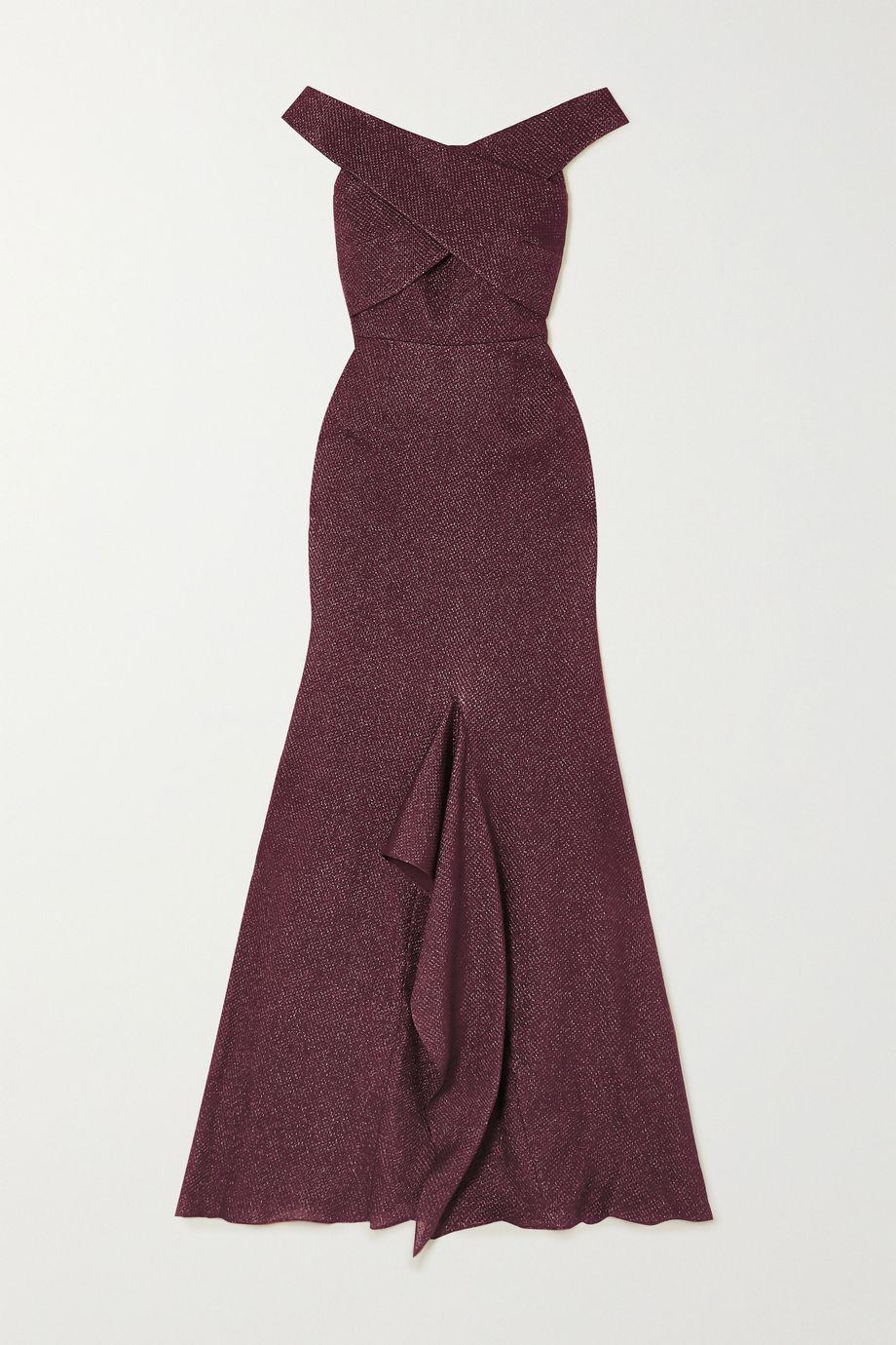 Roland Mouret Ray off-the-shoulder metallic piqué gown