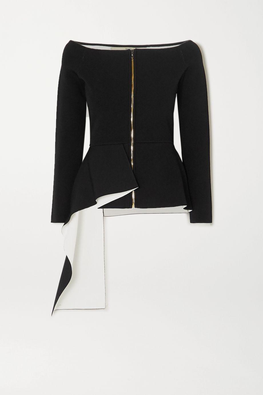 Roland Mouret Affric off-the-shoulder asymmetric stretch-knit jacket