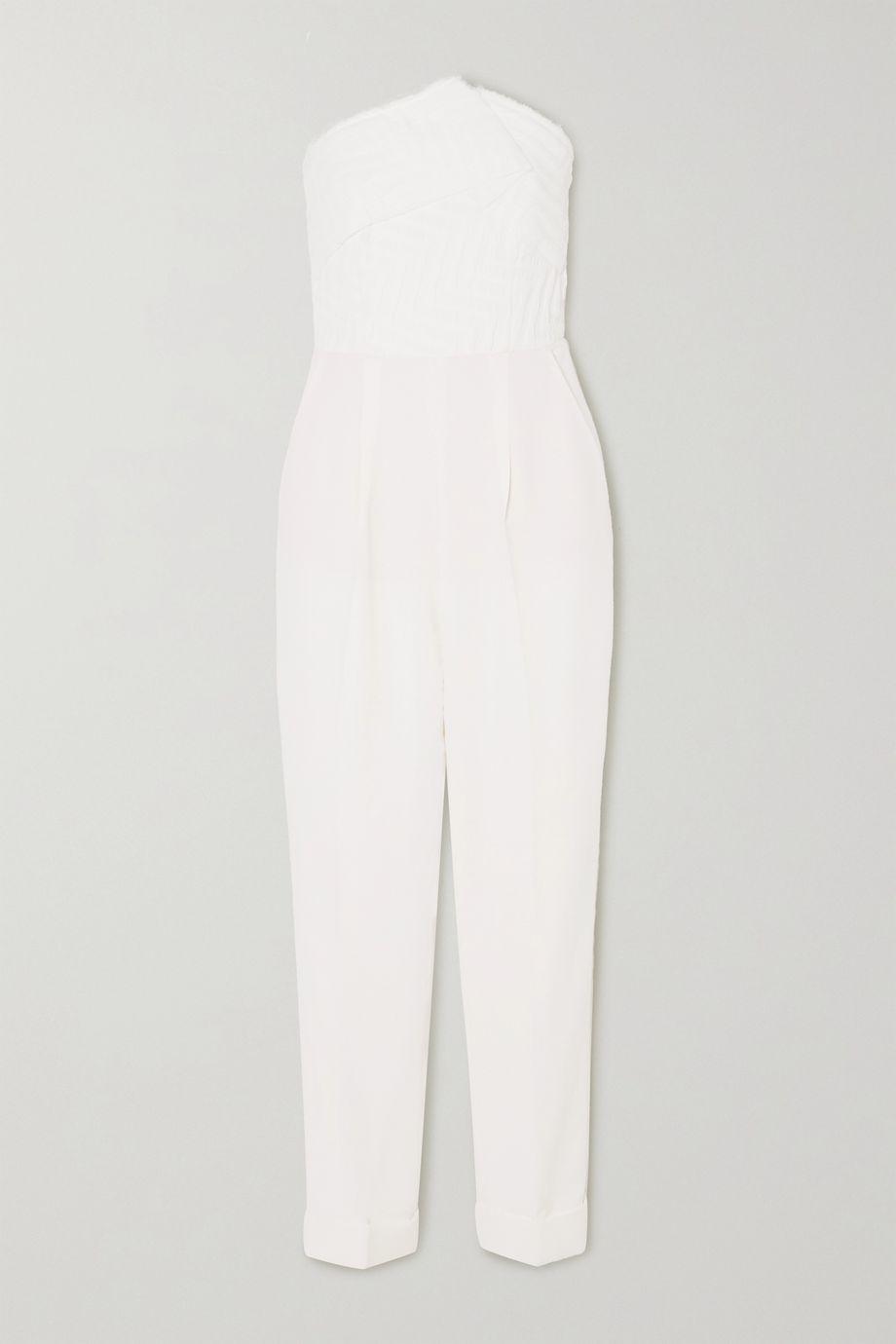 Roland Mouret Haye strapless cloqué and crepe jumpsuit
