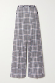 Roland Mouret Palmetto button-detailed checked wool wide-leg pants