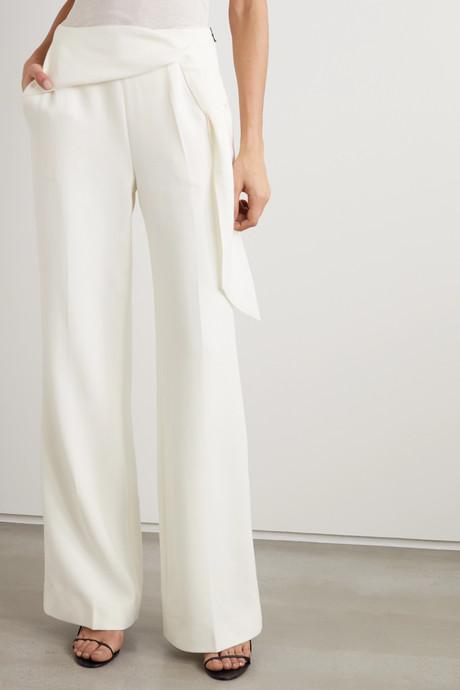 Sherbrooke tie-detailed wool-crepe wide-leg pants