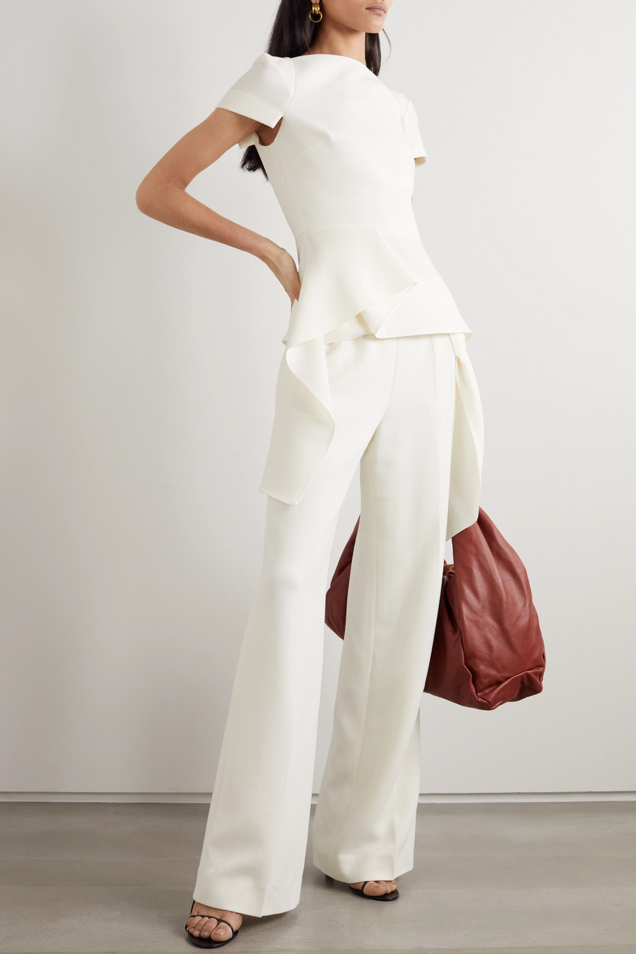 Roland Mouret Sherbrooke tie-detailed wool-crepe wide-leg pants