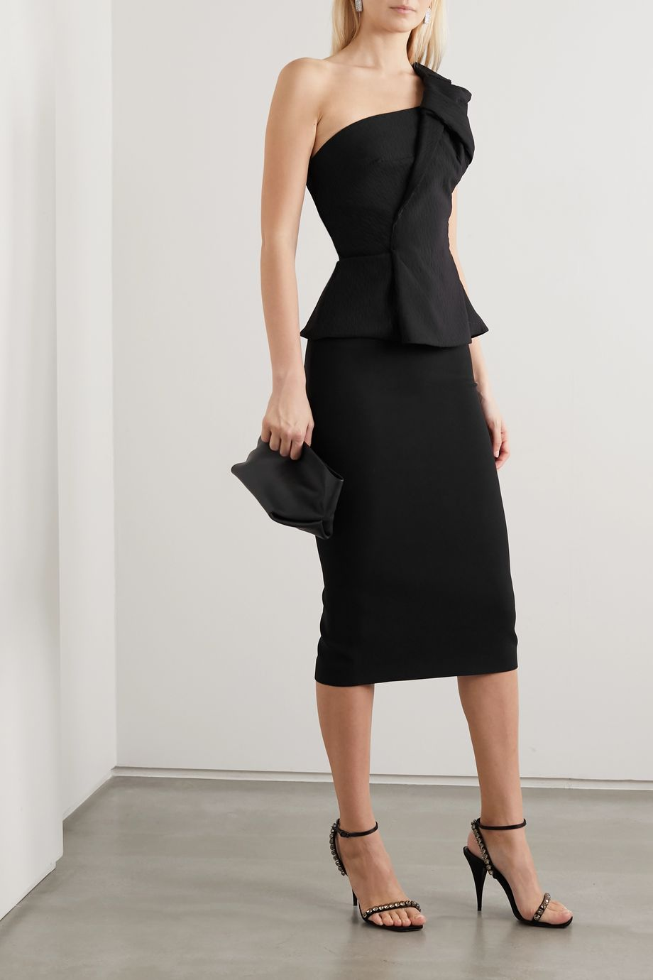 Roland Mouret Whitefield one-shoulder knotted crinkled-cady peplum top
