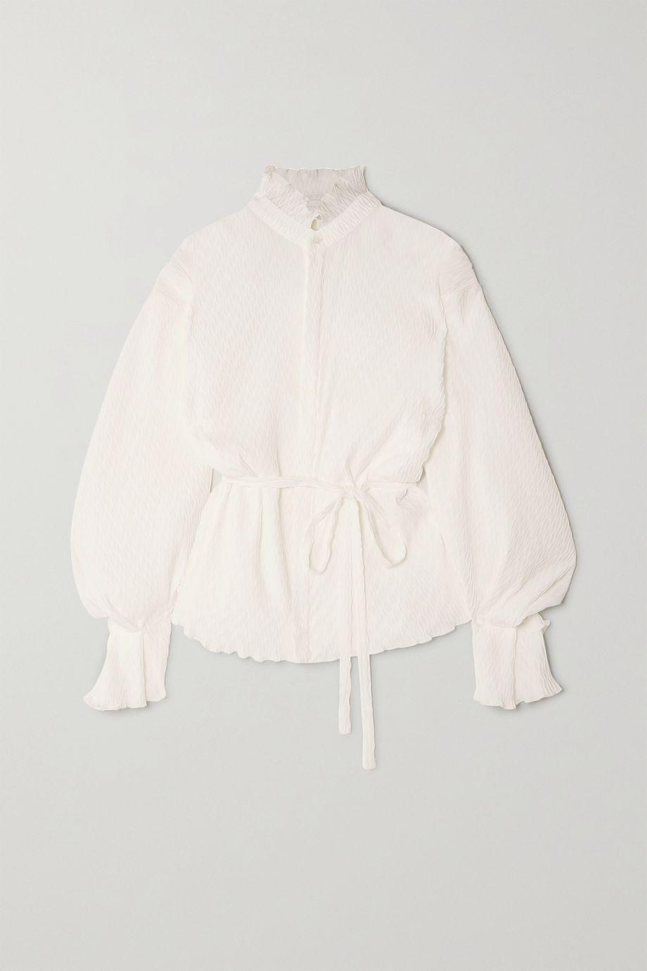 Roland Mouret Sparrow plissé-crepe blouse