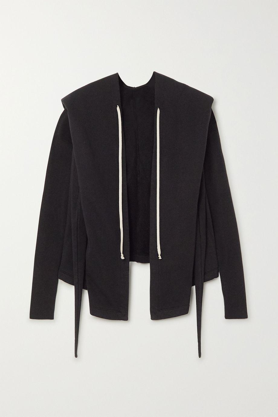 Rick Owens Felpa tie-detailed cotton-jersey hoodie