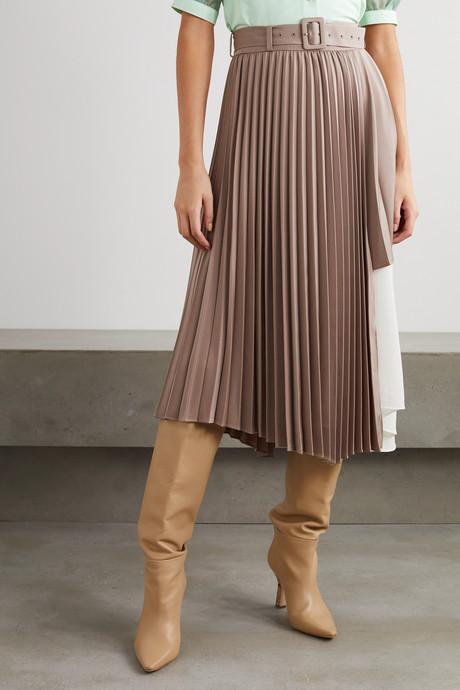 Melanie layered pleated satin and crepe de chine midi skirt