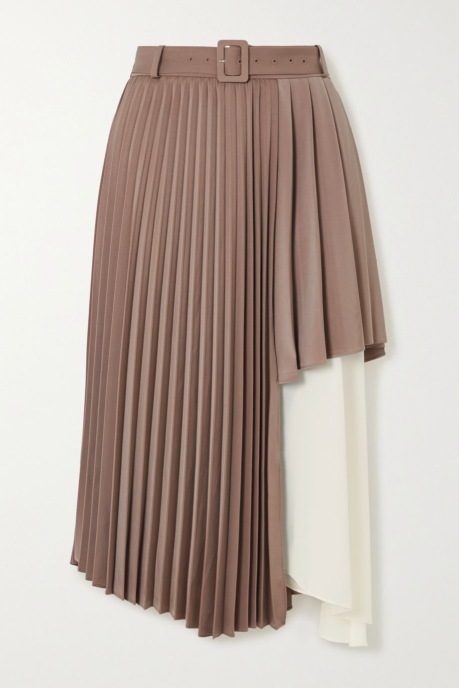 Andersson Bell Melanie layered pleated satin and crepe de chine midi skirt
