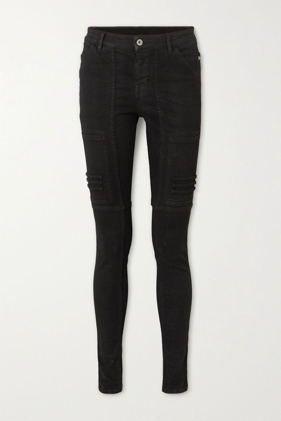 Rick Owens Nagakin paneled mid-rise skinny jeans