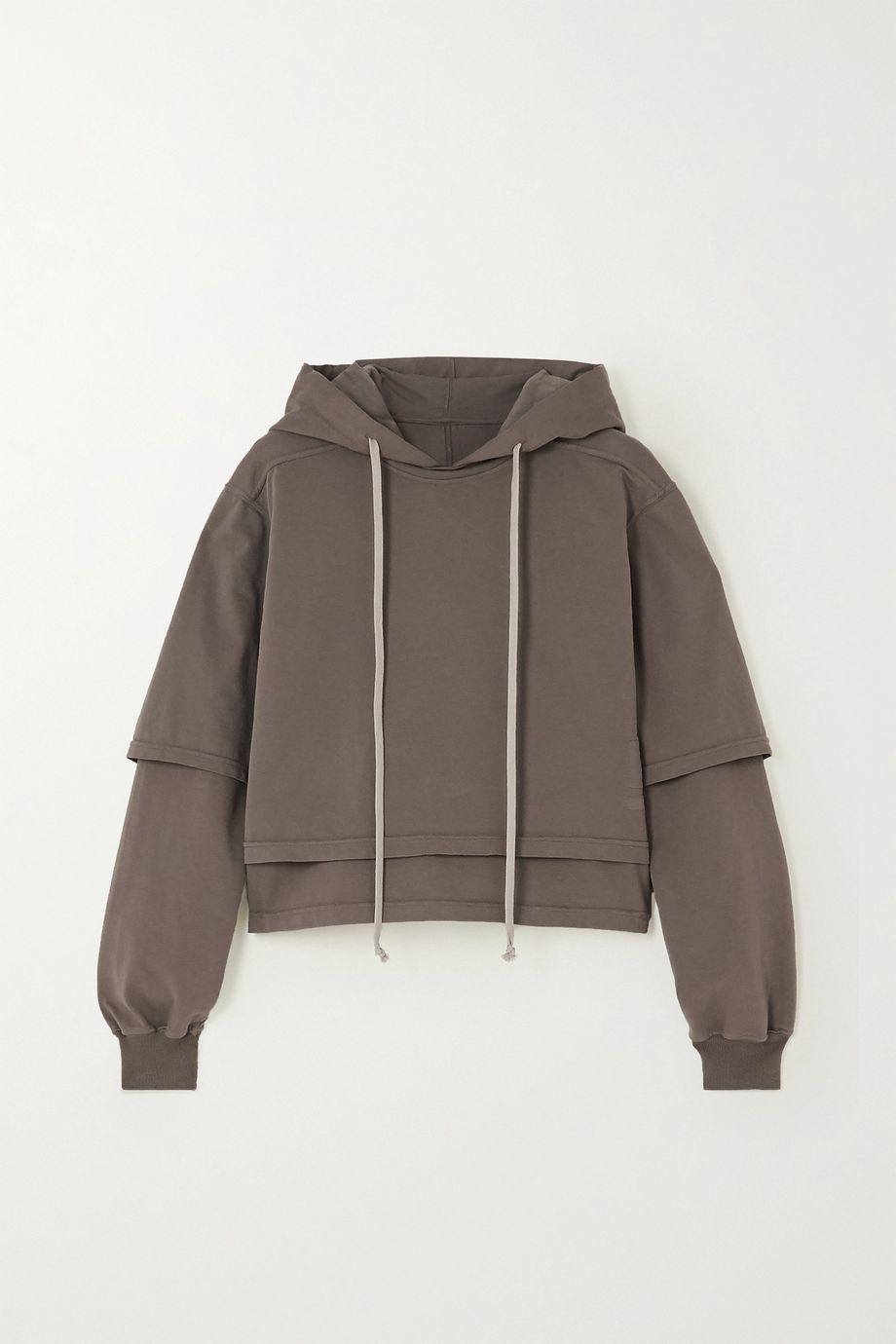 Rick Owens Hustler cropped layered cotton-jersey hoodie