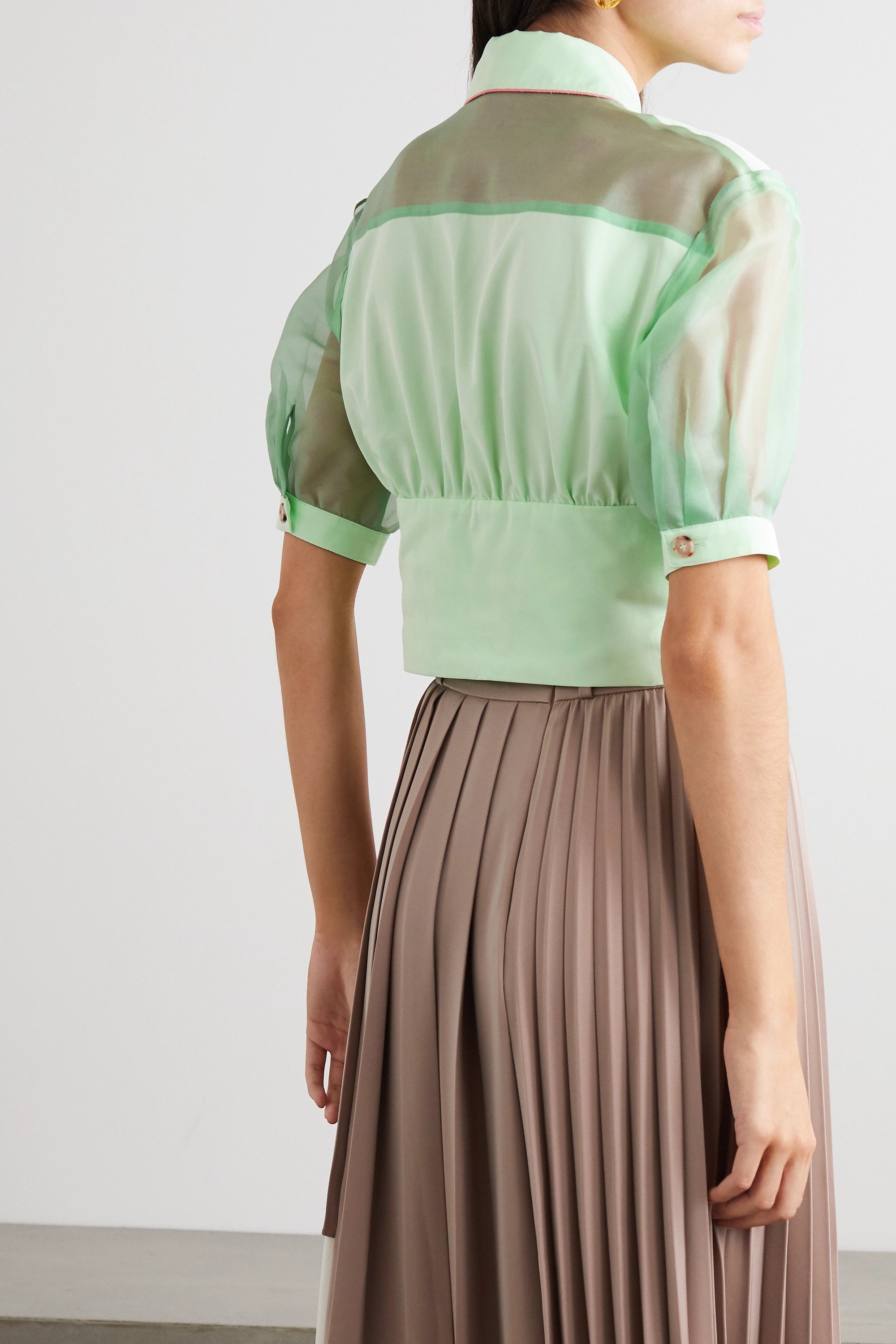 Andersson Bell Maria paneled cotton-blend and silk-organza blouse