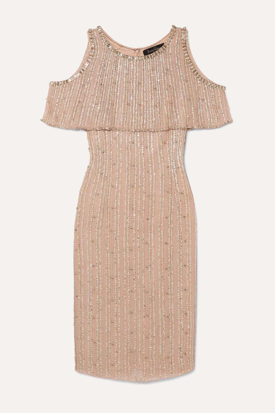 Jenny Packham Cold-shoulder embellished chiffon dress