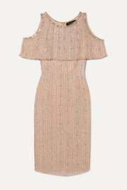 Jenny Packham Cold-shoulder embellished chiffon dress