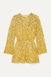 Jenny Packham Sequined chiffon playsuit