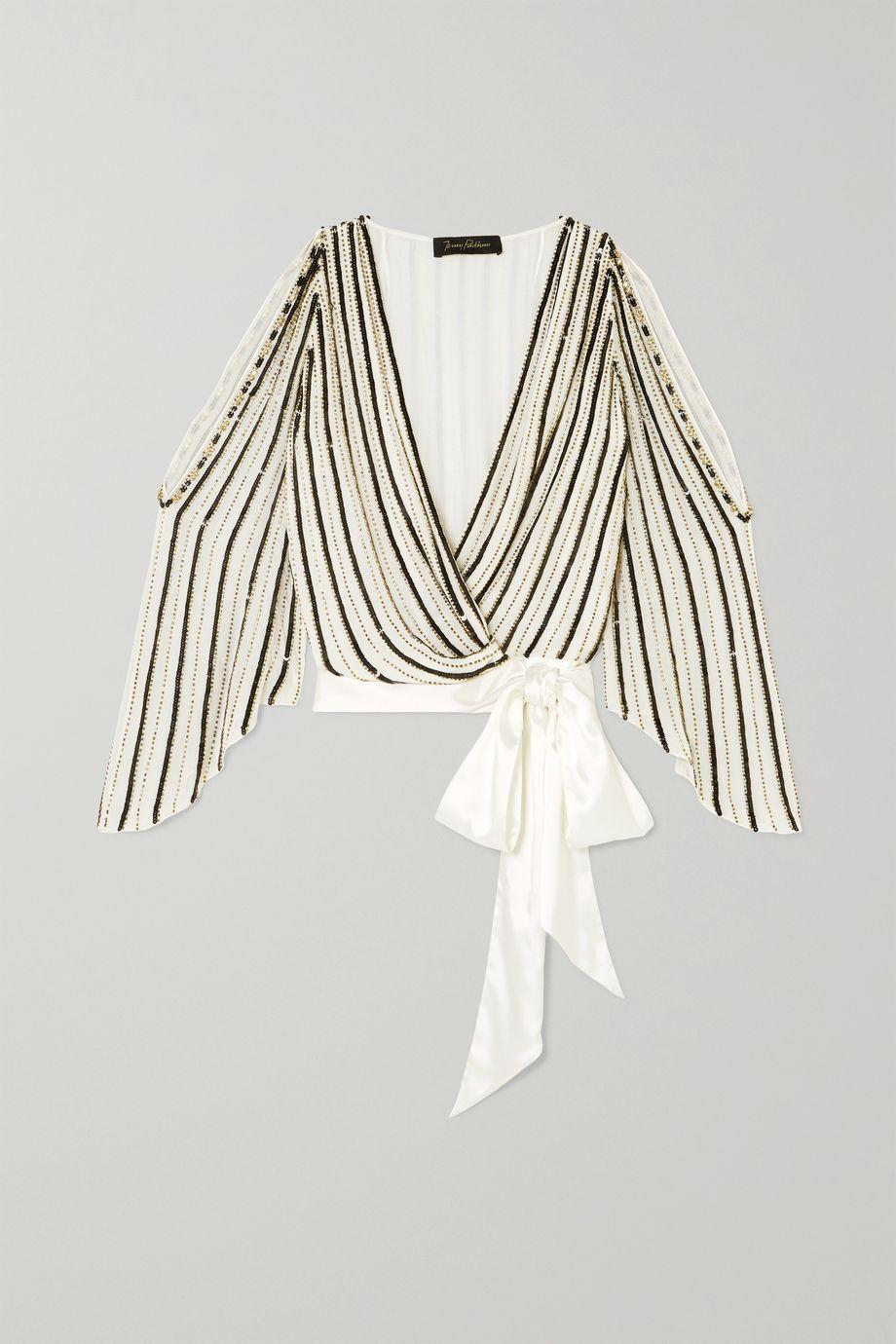 Jenny Packham Cutout satin-trimmed embellished chiffon wrap blouse