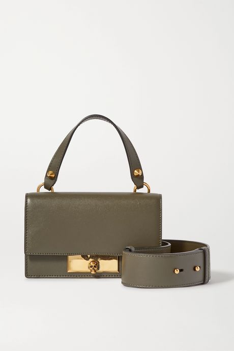 Army green Skull Lock small leather shoulder bag | Alexander McQueen 7Nz0eB