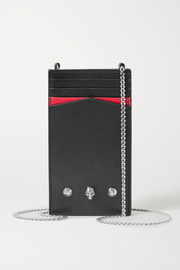 Alexander McQueen Embellished textured-leather phone case