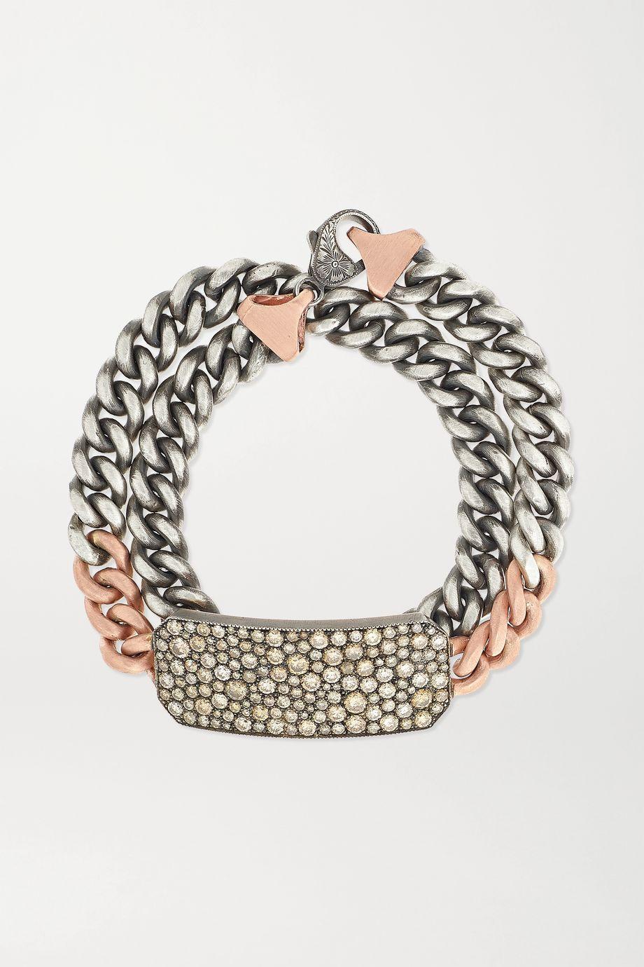 Sylva & Cie Ten Table Armband aus 14 Karat Roségold und Sterlingsilber mit Diamanten