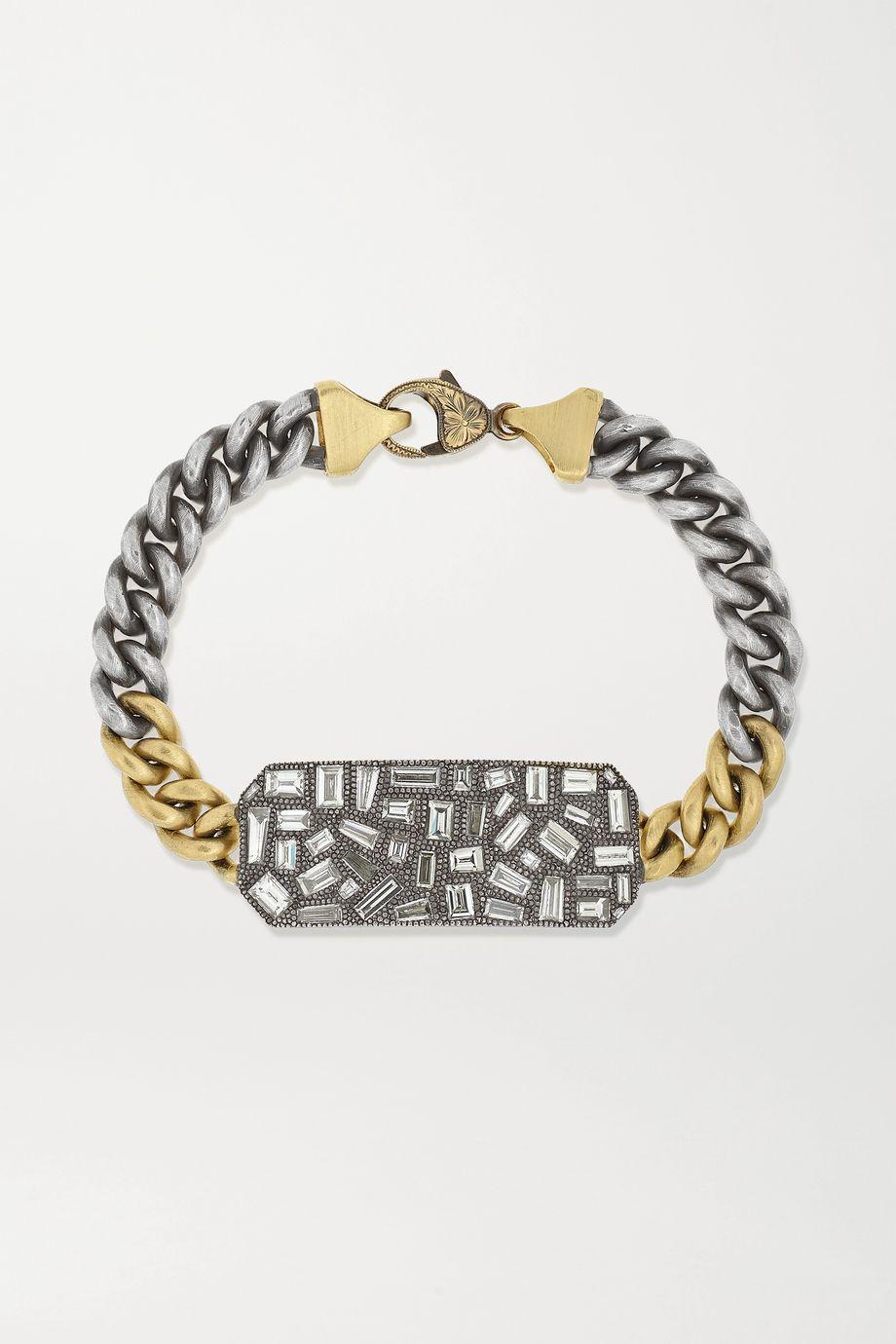 Sylva & Cie Ten Table Armband aus 18 Karat Gold und Sterlingsilber mit Diamanten